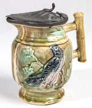 Majolica Milk Pitcher w/ Pewter Lid