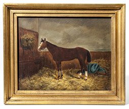 Early Signed Oil Portrait of a Horse