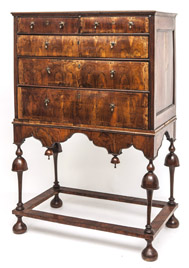 Period William & Mary Chest on Stand