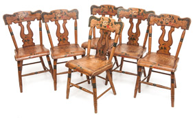 Early L. Balerna Set of 6 Lyre-Back Decorated Chairs