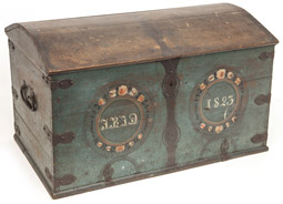 Large Early Paint Decorated Domed Top Chest