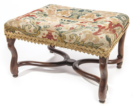 William & Mary Style Dressing Bench