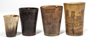 Four Early Scrimshaw Horn Cups