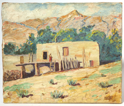 Illegibly Signed Southwest Adobe Scene Oil Painting
