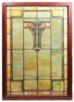 Prairie School Arts & Crafts Stained Glass Window