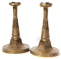 Pair of Apollo Studios, NY Arts and Crafts Candlesticks