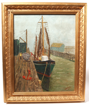 Signed H. H. Henry Harbor Scene Oil on Board