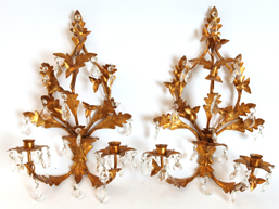 Pair of Gold French Style Prism Wall Sconces