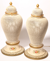Pair of Reticulated Porcelain Urns