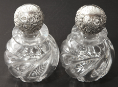 Pair of Sterling & Cut Glass Cologue Bottles