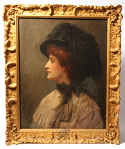 20th Century Oil Painting of Lady in Hat