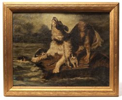 Oil Painting of Dog In Flood
