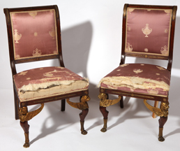Pair of  Louis XVI Ormolu Mounted Chairs