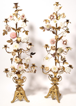 Large Pair of Brass & Porcelain Victorian Candleabras