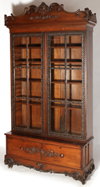 Ornate Walnut Victorian Two Door Bookcase