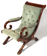 19th Century Ladies Arm Chair with Claw Feet