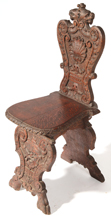 Oak Carved Chair With Lions' Heads
