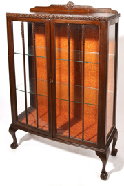 Mahogany China Cabinet with Claw and Ball Feet