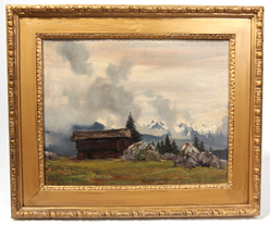 Illegibly Signed Landscape Oil Painting