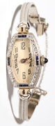 Platinum and Diamond-Sapphire Ladies Watch