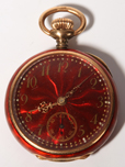 14K Gold Red Enamel Ladies Pendant Watch