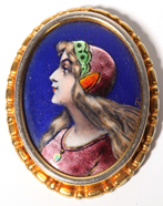 French Enamel Pin, Portrait of Lady