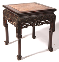 Chinese Carved Marble Top Teak Stand