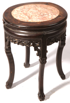 Chinese Carved Teak Marble Top Stand