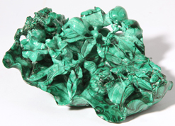 Chinese Carved Malachite Floral Group