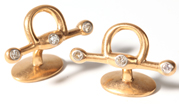 14K Gold Cufflinks with Diamonds