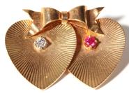 14K Gold Diamond and Ruby Heart Pin