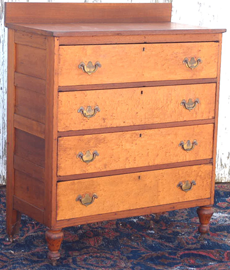 EARLY CHEST W/BIRDSEYE MAPLE DRAWERS