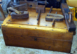 EARLY TOOL BOX & TOOLS