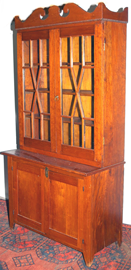 EARLY KENTUCKY CHERRY STEP BACK CUPBOARD