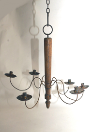 EARLY WOOD AND TIN CHANDELIER
