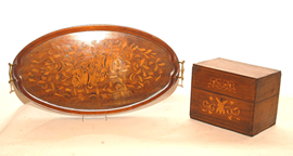 MAHOGANY INLAID TEA CADDY AND TRAY