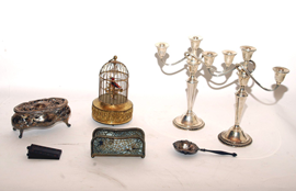 SILVERPLATE & SINGING BIRD IN CAGE