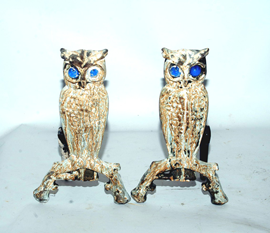 OWL ANDIRONS W/GLASS EYES