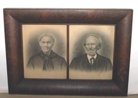 LARGE OAK DOUBLE PICTURE FRAMES