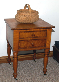 EARLY CURLY MAPLE NIGHTSTAND