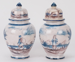 Pair Italian Faience Covered Jars