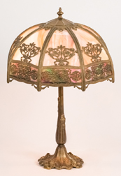 Art Nouveau Slag Glass Table Lamp