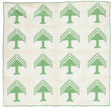 Early Pine Tree Pieced Quilt