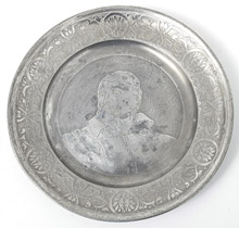Pewter Seder Plate with Engraved Portrait