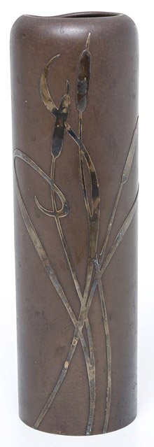 Heintz Arts & Crafts Sterling on Bronze Vase