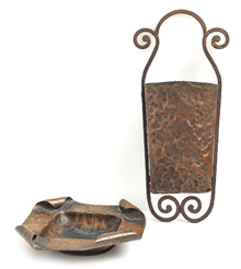 Arts & Crafts Copper Dish & Wall Pocket