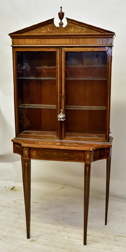 Fine Inlaid Two Piece Curio Cabinet