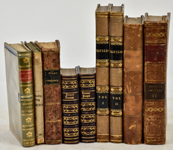 Nine Early Leather Bound Books