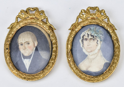 Pair American Folk Art Miniature Portraits