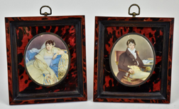 Pair of Camille Cornelie Isbert Miniature Paintings